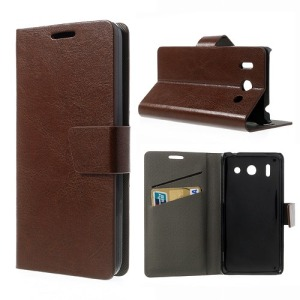 Θήκη HUAWEI Ascend G510-100 flip - wallet δερματίνη καφέ