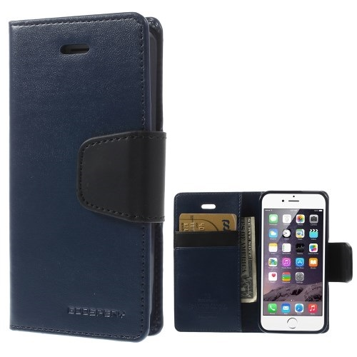 Θήκη APPLE iPhone 5-5s MERCURY GOOSPERY flip - wallet δερματίνη μπλε