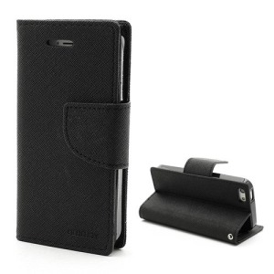 Θήκη iPhone 5 / 5s MERCURY GOOSPERY FANCY flip - wallet δερματίνη μαύρο