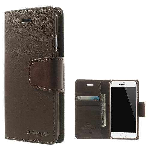 Θήκη APPLE iPhone 6-6s MERCURY GOOSPERY flip - wallet δερματίνη καφέ