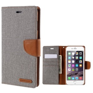 Θήκη APPLE iPhone 6-6s Plus MERCURY GOOSPERY flip - wallet δερματίνη γκρι