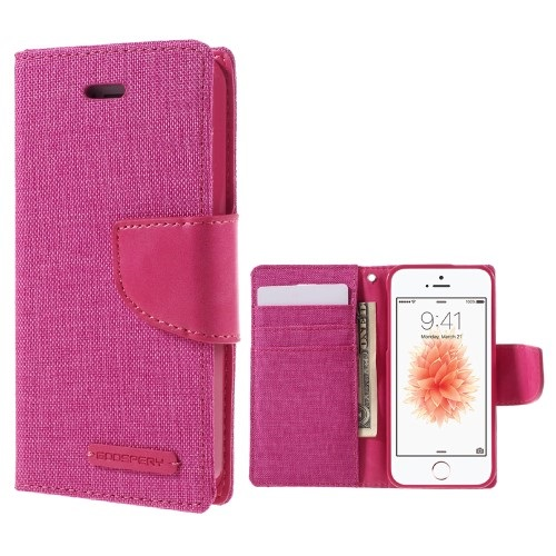Θήκη iPhone 5 / 5s / SE MERCURY GOOSPERY Canvas Diary flip - wallet δερματίνη φούξια