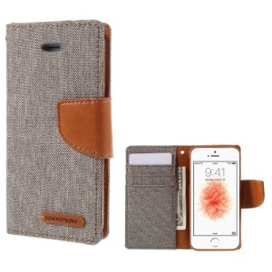 Θήκη iPhone 5 / 5s / SE MERCURY GOOSPERY Canvas Diary flip - wallet δερματίνη γκρι