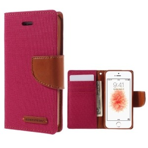 Θήκη iPhone 5 / 5s / SE MERCURY GOOSPERY Canvas Diary flip - wallet δερματίνη κόκκινο