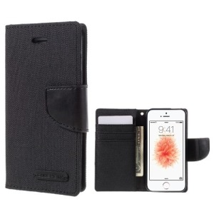 Θήκη iPhone 5 / 5s / SE MERCURY GOOSPERY Canvas Diary flip - wallet δερματίνη μαύρο