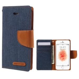 Θήκη iPhone 5 / 5s / SE MERCURY GOOSPERY Canvas Diary flip - wallet δερματίνη μπλε