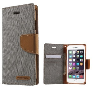 Θήκη iPhone 6 / 6s MERCURY GOOSPERY Canvas Diary flip - wallet δερματίνη γκρι