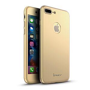 Θήκη iPhone 7 Plus IPAKY Full Protection 360° + tempered glass 0.26mm Πλάτη - χρυσό