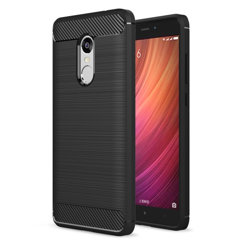 Θήκη XIAOMI Redmi Note 4 OEM Brushed with Carbon Fiber Πλάτη tpu μαύρο