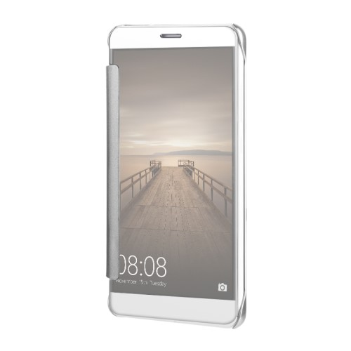 Θήκη HUAWEI Mate 9 OEM Mirror Surface Series Flip Window πλαστική ασημί