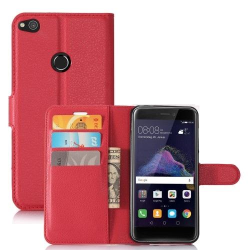 Θήκη HUAWEI P8 Lite (2017) OEM Litchi Grain Flip Wallet δερματίνη κόκκινο