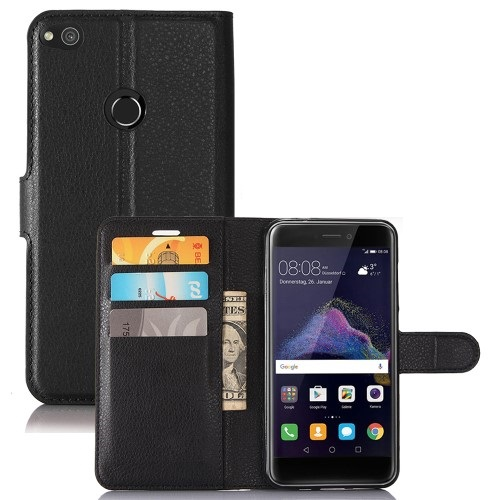 Θήκη HUAWEI P8 Lite (2017) OEM Litchi Grain Flip Wallet δερματίνη μαύρο