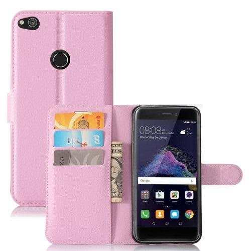 Θήκη HUAWEI P8 Lite (2017) OEM Litchi Grain Flip Wallet δερματίνη ροζ