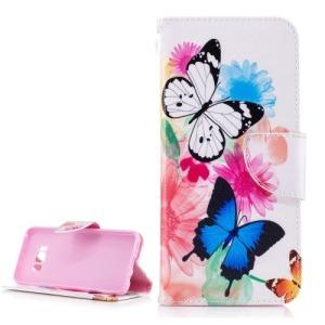 Θήκη SAMSUNG Galaxy S8 OEM σχέδιο Butterflies and Flowers Flip Wallet δερματίνη