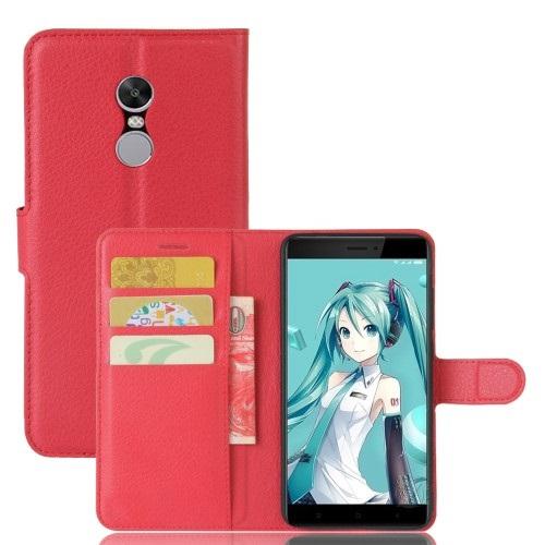 Θήκη XIAOMI Redmi Note 4X OEM Litchi Grain Leather Flip Wallet δερματίνη κόκκινο