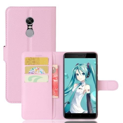 Θήκη XIAOMI Redmi Note 4X OEM Litchi Grain Leather Flip Wallet δερματίνη ροζ