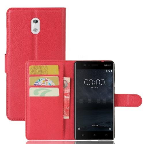 Θήκη NOKIA 3 OEM Lychee Leather Card Holder Flip Wallet δερματίνη κόκκινο