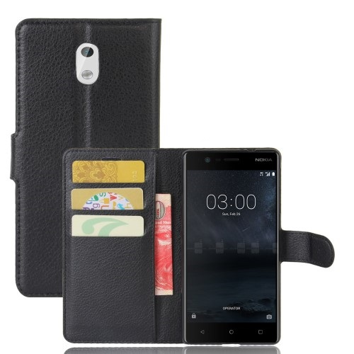 Θήκη NOKIA 3 OEM Lychee Leather Card Holder Flip Wallet δερματίνη μαύρο