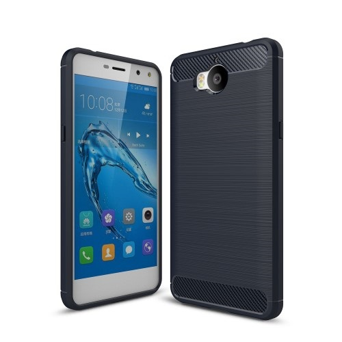 Θήκη HUAWEI Y6 (2017) OEM Brushed TPU Carbon Πλάτη tpu μπλε