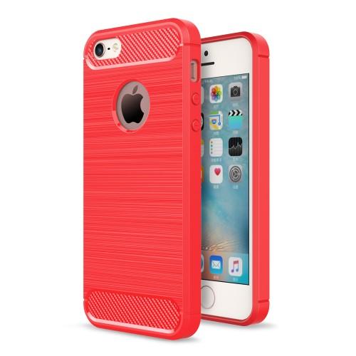 Θήκη iPhone 5 / 5s / SE OEM Brushed TPU Carbon Πλάτη tpu κόκκινο