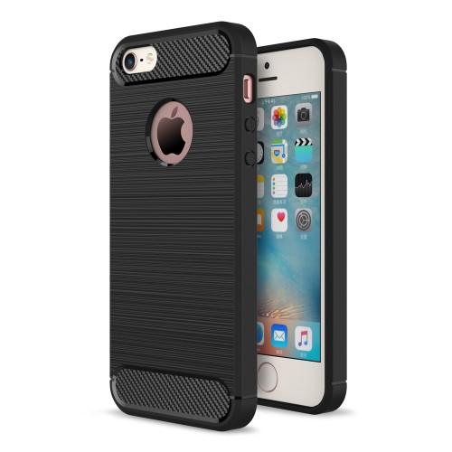 Θήκη iPhone 5 / 5s / SE OEM Brushed TPU Carbon Πλάτη tpu μαύρο