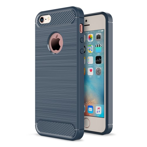 Θήκη iPhone 5 / 5s / SE OEM Brushed TPU Carbon Πλάτη tpu μπλε