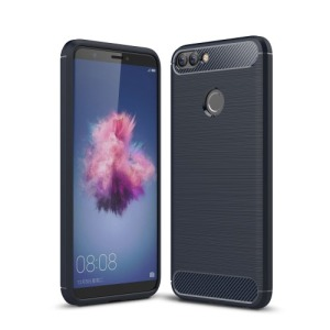 Θήκη HUAWEI P Smart OEM Brushed TPU Carbon Πλάτη μπλε