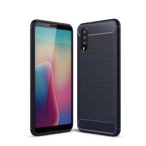 Θήκη HUAWEI P20 OEM Brushed TPU Carbon Πλάτη μπλε