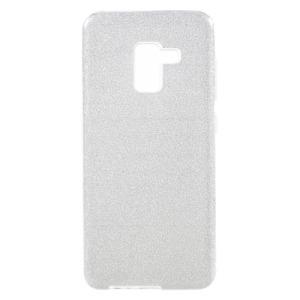 Θήκη SAMSUNG Galaxy A8 Plus OEM Flash Powder Paper TPU Πλάτη γκλίτερ ασημί