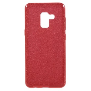 Θήκη SAMSUNG Galaxy A8 Plus OEM Flash Powder Paper TPU Πλάτη γκλίτερ κόκκινο