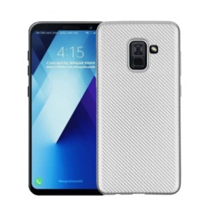 Θήκη SAMSUNG Galaxy A8 Plus OEM Carbon Fiber Texture Πλάτη TPU ασημί