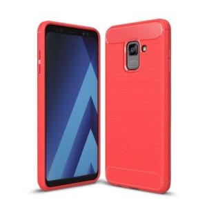 Θήκη SAMSUNG Galaxy A8 Plus OEM Brushed TPU Carbon Πλάτη κόκκινο