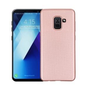 Θήκη SAMSUNG Galaxy A8 Plus OEM Carbon Fiber Texture Πλάτη TPU ροζ