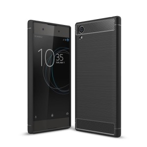 Θήκη SONY Xperia XA1 Plus OEM Brushed TPU Carbon Πλάτη μαύρο