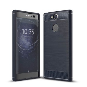 Θήκη SONY Xperia XA2 OEM Brushed TPU Carbon Πλάτη μπλε