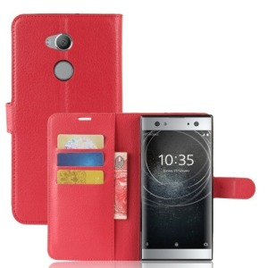 Θήκη SONY Xperia XA2 Ultra OEM Litchi Grain 3 Card Holders with Stand Flip Wallet δερματίνη κόκκινο