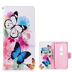 Θήκη SONY Xperia XZ2 OEM σχέδιο Butterflies and Flowers με βάση στήριξης