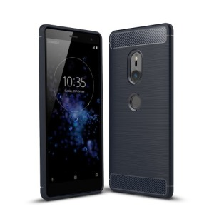 Θήκη SONY Xperia XZ2 OEM Brushed TPU Carbon Πλάτη μπλε