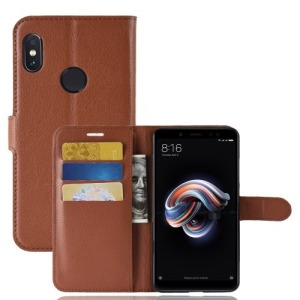 Θήκη XIAOMI Redmi Note 5 Pro OEM Litchi Skin Leather με βάση στήριξης