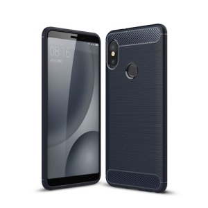 Θήκη XIAOMI Redmi Note 5 Pro OEM Brushed TPU Carbon Πλάτη μπλε