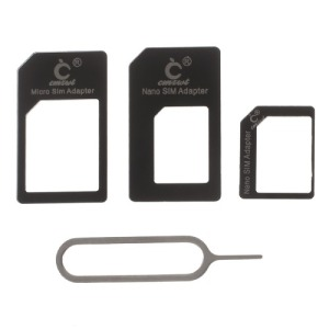 Sim adapter 4 in 1 Nano / Micro / Standard / Eject Pin μαύρο OEM