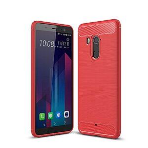 Θήκη HTC U11 Plus OEM Brushed TPU Carbon Πλάτη κόκκινο