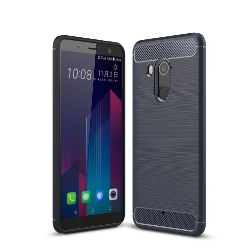 Θήκη HTC U11 Plus OEM Brushed TPU Carbon Πλάτη μπλε