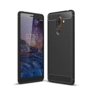 Θήκη NOKIA 7 Plus OEM Brushed TPU Carbon Πλάτη μαύρο