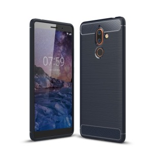 Θήκη NOKIA 7 Plus OEM Brushed TPU Carbon Πλάτη μπλε
