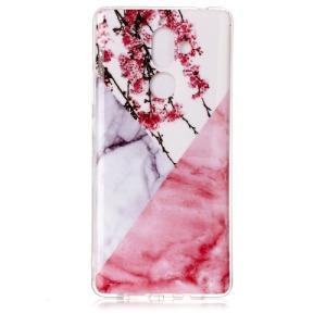 Θήκη NOKIA 7 Plus OEM σχέδιο marble with Pink flower Πλάτη TPU ροζ