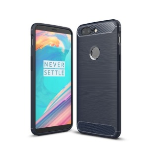Θήκη OnePlus 5T OEM Brushed TPU Carbon Πλάτη μπλε