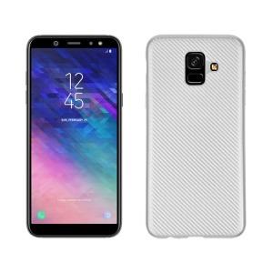 Θήκη SAMSUNG Galaxy A6 (2018) OEM Carbon Fiber Texture Πλάτη TPU ασημί
