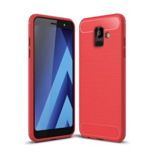 Θήκη SAMSUNG Galaxy A6 (2018) OEM Brushed TPU Carbon Πλάτη κόκκινο