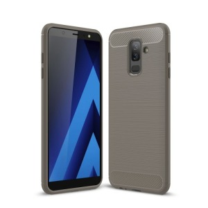 Θήκη SAMSUNG Galaxy A6 Plus (2018) OEM Brushed TPU Carbon Πλάτη γκρι